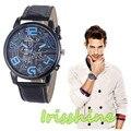 Irisshine #1143 reloj de Los Hombres de Lujo de Los Hombres Correa de Cuero de Cuarzo Analógico Reloj de Pulsera Deportivo Relojes