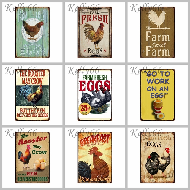 Cock Eggs Happy Chicken Tin Sign Poster Home Bar Wall Art Retro Painting 2030 Cm Size Dy2