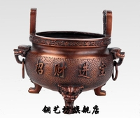 "6"" China Temple Red Bronze Lions Lucky Censer incense burner