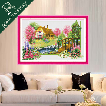 Romantic Story Four Seasons Spring Scenery Cross Stitch Needlework DIY 11CT Printing Cross Stitch Sets For Embroidery Kits embroidery