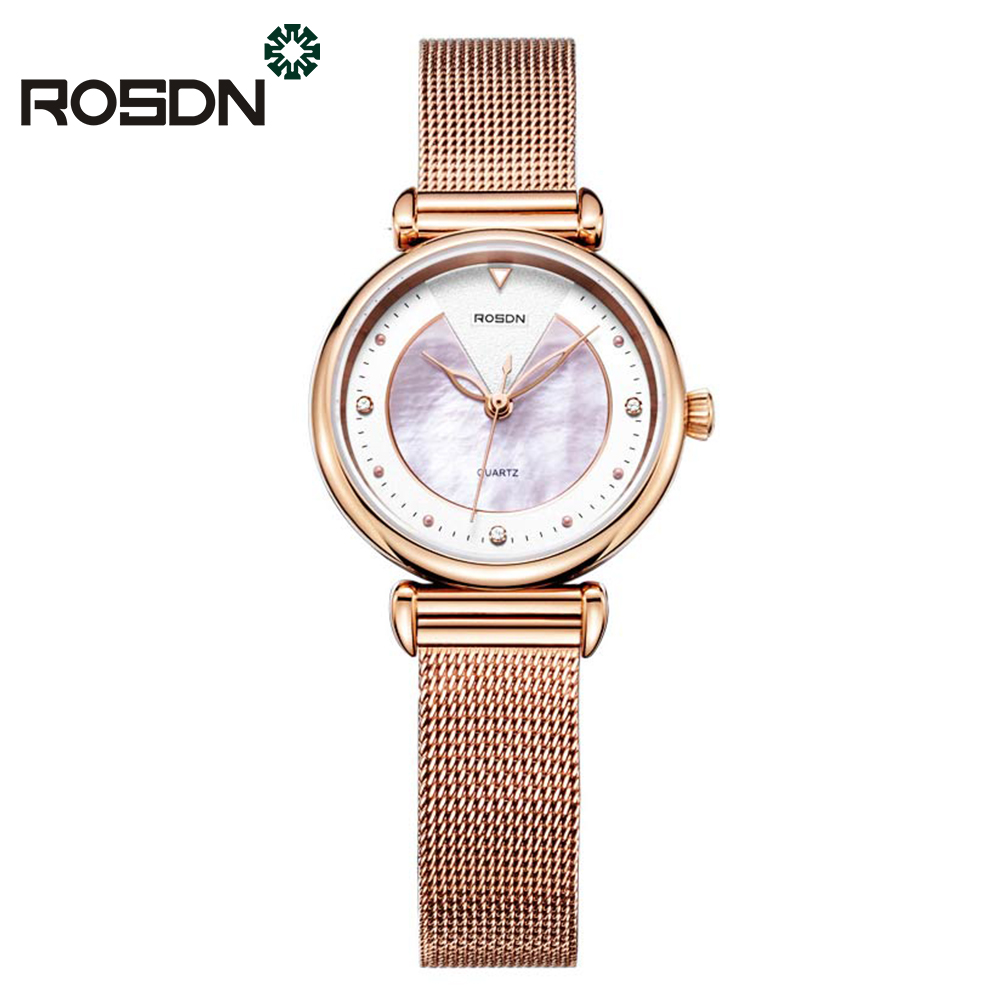 все цены на ROSDN Women Watches Luxury Brand Wrist Watch Unique Design Milanese Steel Rose Gold Ladies Quartz Watch relogio feminino