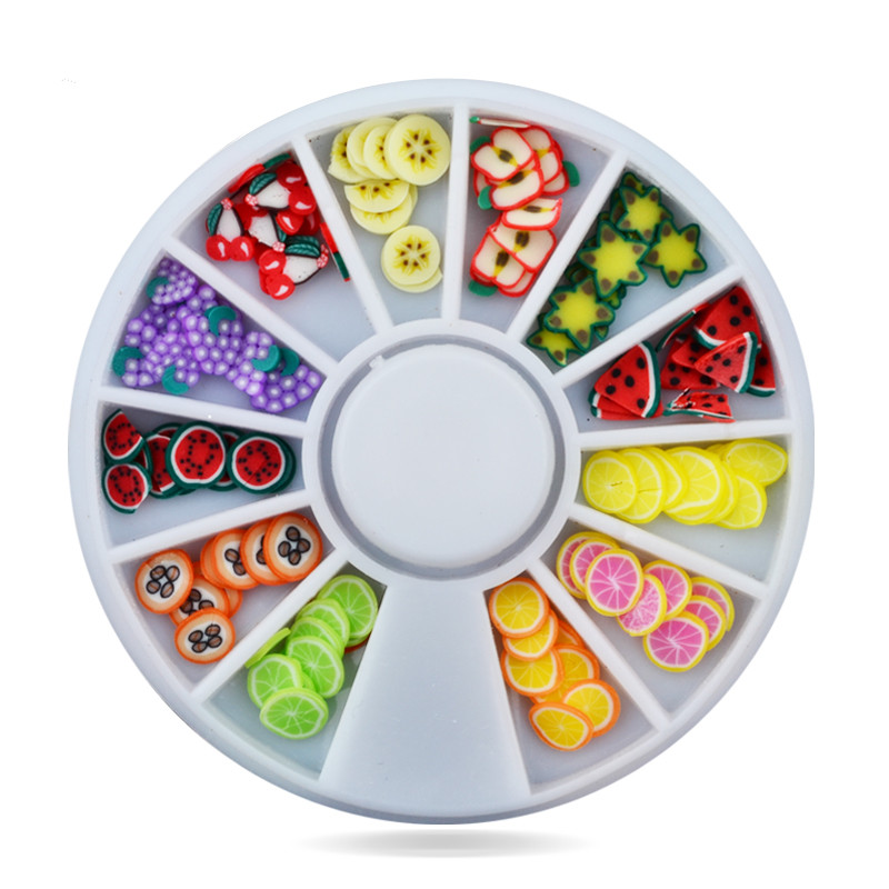 3d Polymer Clay Tiny Art Nail Fimo Fruit Slicing Wheel,5mm 120pcs/lot DIY Mix Design Nail Sticker Decorations