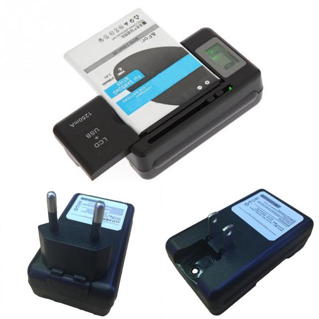 dad9128099c EU/US PLUG cargador de batería Universal indicador LCD pantalla teléfono  celular USB cargador para
