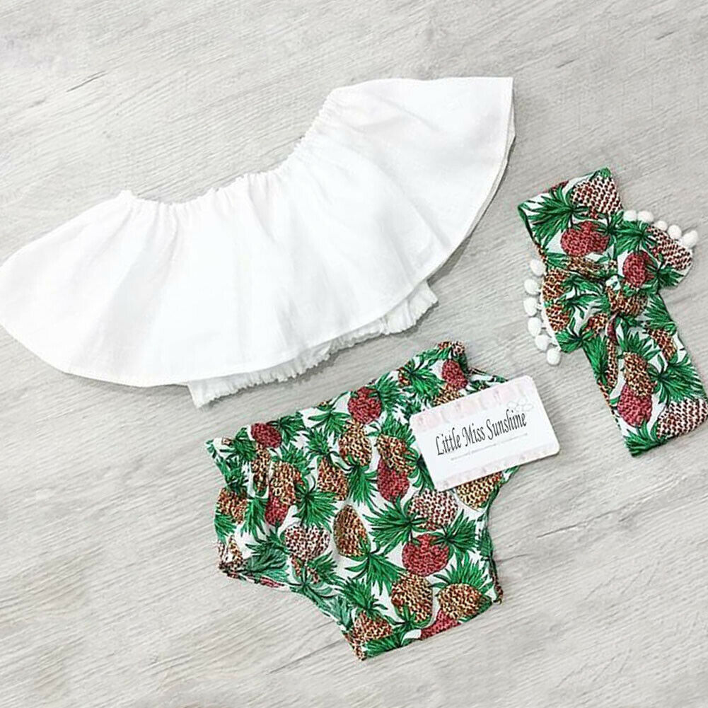 Newborn Baby Girl Clothes Lotus Leaf Collar Crop Tops Pineapple Print Short Pants Headband 3PCS Outfits Summer Clothes