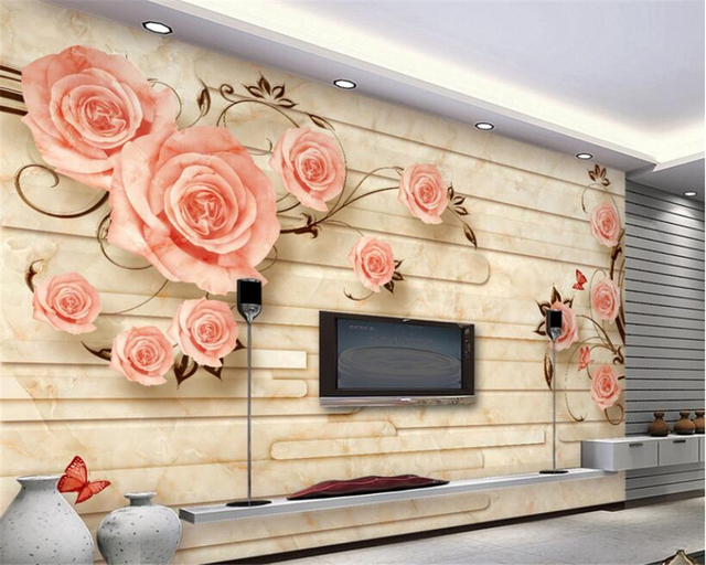 European Marble Reliefs Roses Tv Sofa Background Wall Wallpaper For Walls 3 D Contact Paper