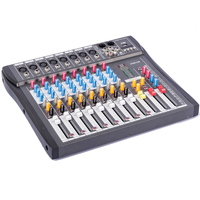 Professional New 8 Channel Mixing Console Audio Stage Music Mixer with USB XLR LINE 48V MICWL AT80S USB