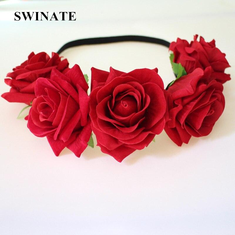 Sievietes meitenes Kvalitatīvas sarkano rožu ziedu galvas lente - Apģērba piederumi