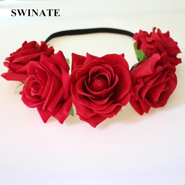 Women Girls Quality Red Rose Flower Headband Flower Crown Flower Garland  Bridal Wedding Hairband Hair Accessories Boho Headwear cf794d741fd