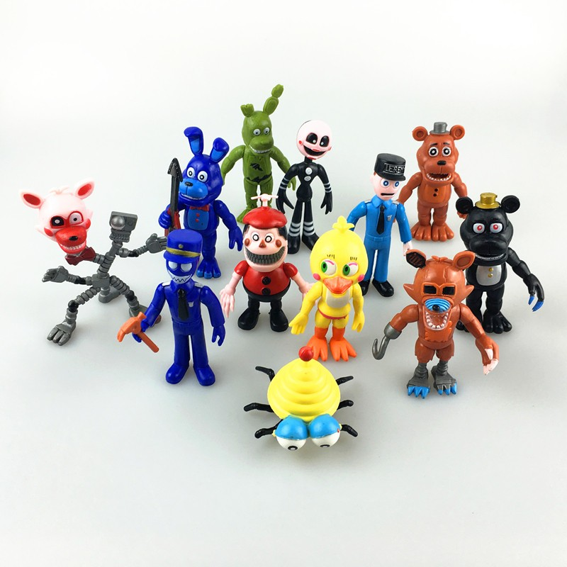 6/12 Pcs Five Nights At Freddy's FNAF Action Figure Toys Foxy Freddy Chica Freddy PVC model Doll Christmas Gift Toy For Children 5pcs 1lot five nights at freddy fnaf 5 5inches foxy toys 1902 action figure brinquedo toy kids new year gift free shipping