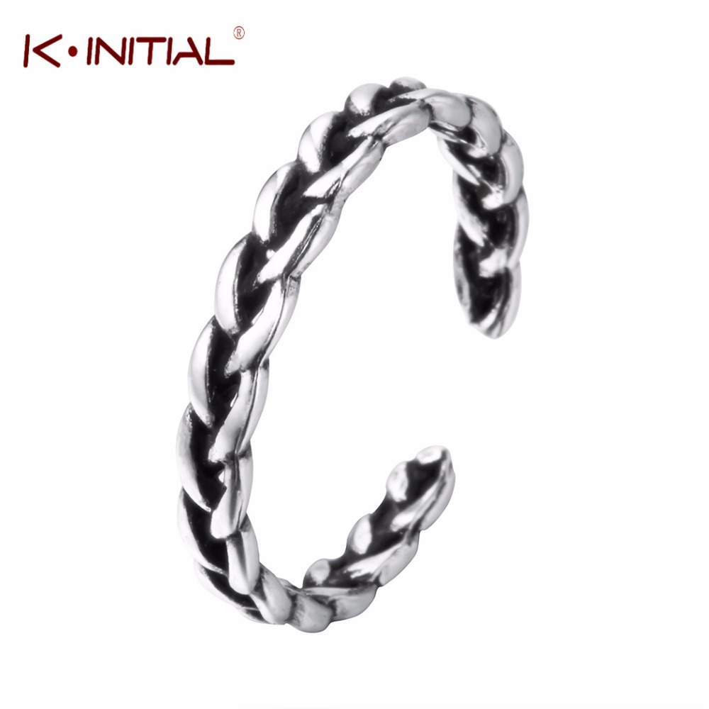 Kinitial Fashion Twist Cross Ring 925 Silver Jewelry Vintage Wedding Finger Rings For Women Birthday Stone Gifts Bijoux