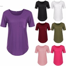 summer Women Clothing pocket T-Shirts O-Neck Short Sleeve Solid Tees Female All-Match Base Tops