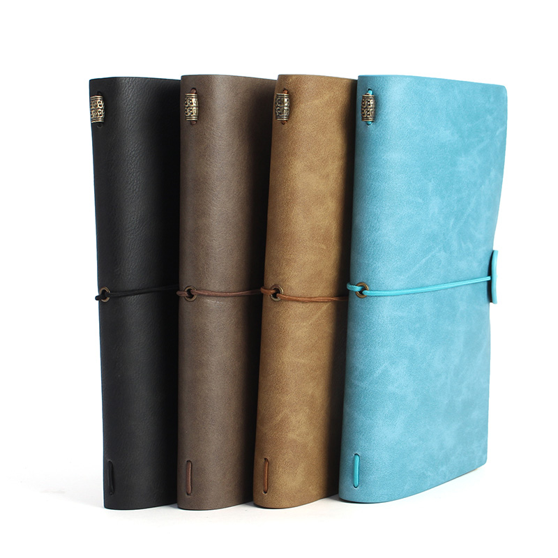 Kicute 1pc Vintage Leather Cover Notebooks Diary Journals Agenda Blank Kraft Paper Sketchbook Handmade Travel Notebook Gift