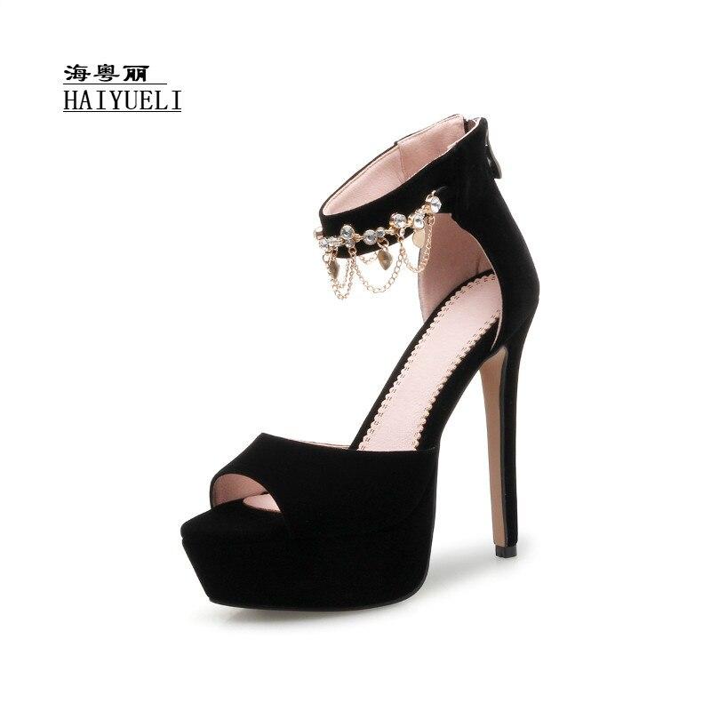 Women Brand Fashion Suede Open Toe Platform Ankle Strap with Tassel High Heels Ladies Sandals