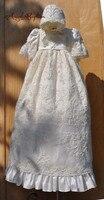 2016 Whole sale Robe Christening Gown Baby Gown Baptism Dresses Lace Applique Beads Vestido De Noiva With Bonnet