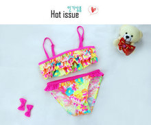 Child Summer Bikini 2016 Girl Swimsuits Baby Kid s Cartoon Floral Swimwear Bathing Set Two Piece