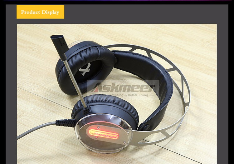 Xiberia X12 USB Gaming Headset Surround Sound Noise Canceling Luminous LED Light Over ear Headphones with Microphone for PC (6)