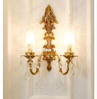 Бесплатная доставка Европейский хрусталь настенный светильник 100% Медь Бра Лампа бронзовый настенное Кронштейны свет для Спальня Гостиная