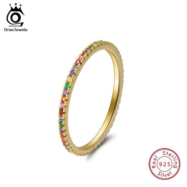 ORSA JÓIAS Reais 925 Esterlina Anéis de Prata Para As Mulheres da Jóia Do Casamento Com Brilhante AAA Zircão Cúbico Presente Anel Pequeno Coreano OSR63