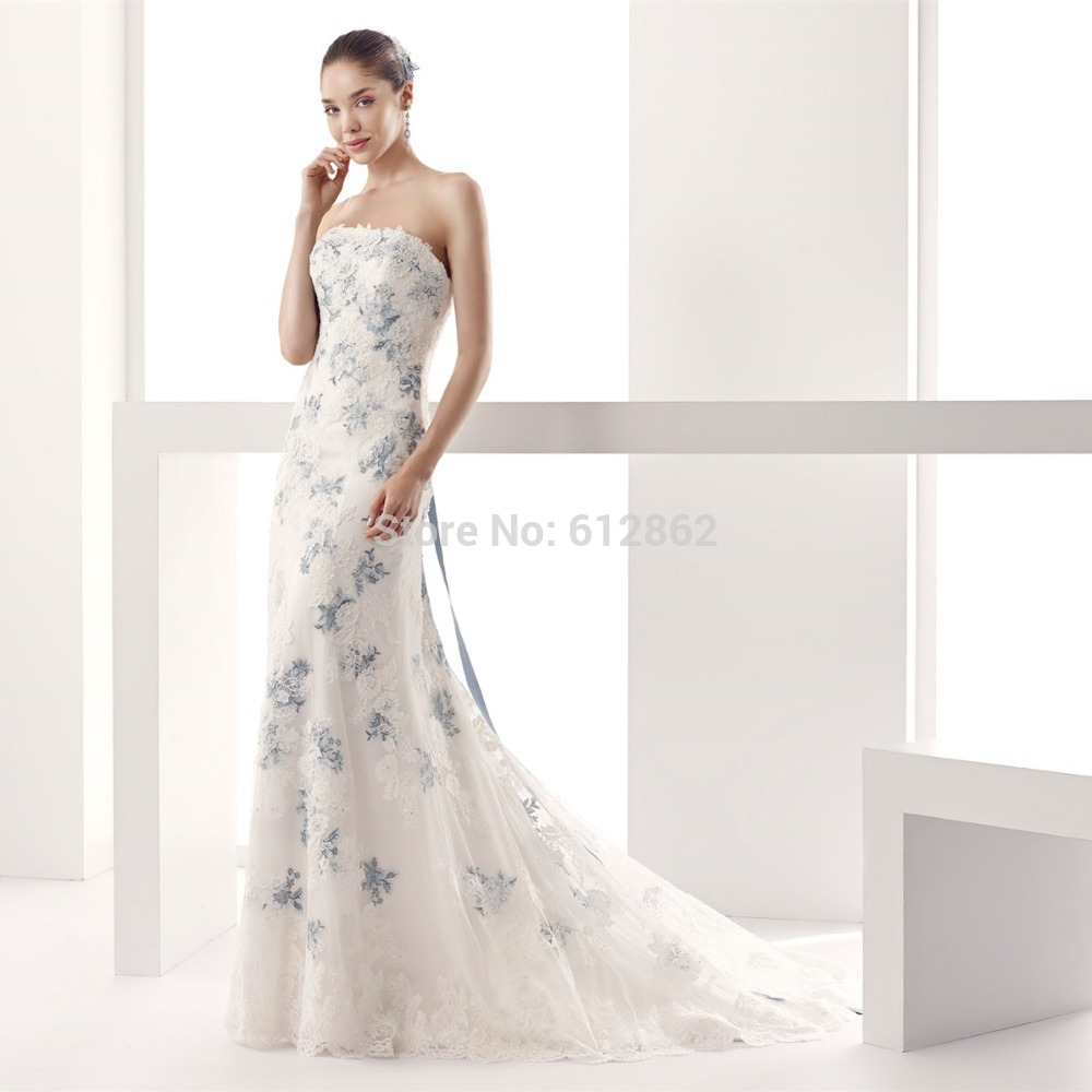 Strapless Low Back A Line Lace Royal Blue And White Wedding Dresses In From Weddings Events On Aliexpress Alibaba Group