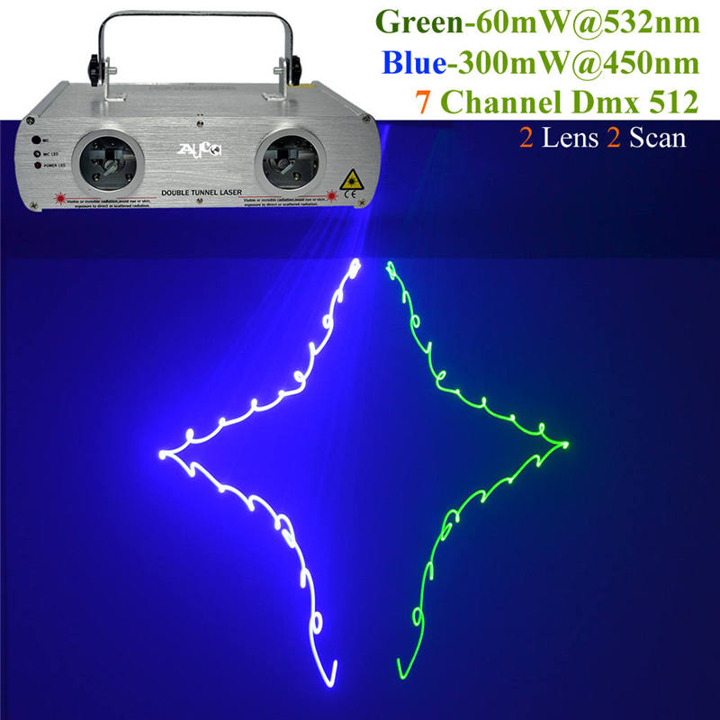 AUCD 2 Lens 7CH DMX512 Green Blue Laser Lights Beam Master-Slave DJ Party DJ KTV Home Projector Bar Show Stage Lighting DL-22GB rg mini 3 lens 24 patterns led laser projector stage lighting effect 3w blue for dj disco party club laser
