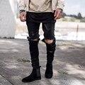 Оптовая и розничная черный синий мужчины рваные джинсы мода человек отверстие хип-хоп байкер Джинсы Kanye West YEEZY джинсовой Грузов брюки