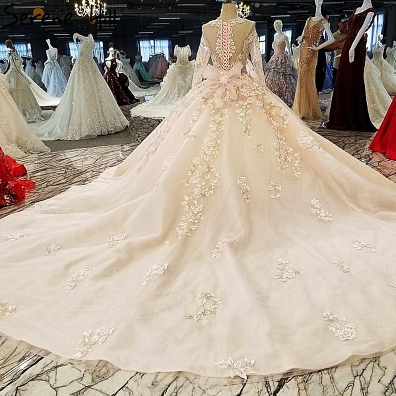 Pink High end Long Sleeve Vintage Wedding Dresses 2018 Crystal ...