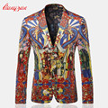 Men BlazerJacket Brand Business Floral Blazer Suit Male M-3XL Cotton Casual Print Wedding Party Masculino Costume Homme SL-K200