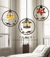 Средиземноморский птица дом подвесной светильник витражи для ресторана бар лампа проходу балкон вход droplights