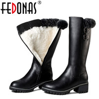 FEDONAS Women Genuine Leather Boots Thick Wool Winter Warm Boots Women Snow Boots Keep Mid Calf