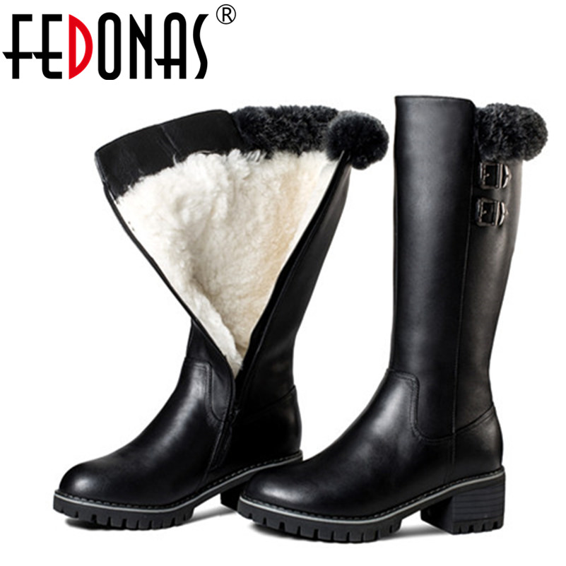FEDONAS Women Genuine Leather Boots Thick Wool Warm Shoes For Women Snow Boots Keep Warm Mid-calf High Heels Boots Shoes