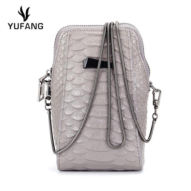 YUFANG Women Messenger Bag Fashion Mini Phone Bag Genuine Leather Ladies  Daily Shoulder Bag Alligator Style Crossbody Bag Female 16a6eb0f66bb5