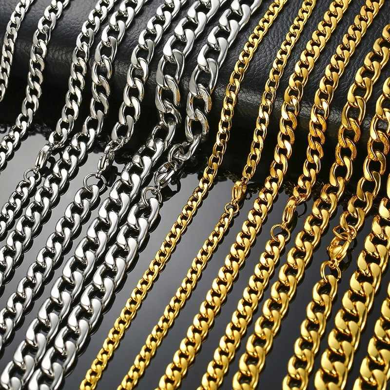 5-10MM גברים של עגול מיאמי קובני קישור שרשרת שרשרת זהב טון נירוסטה Hiphop ילד זכר תכשיטי עם 24 אינץ