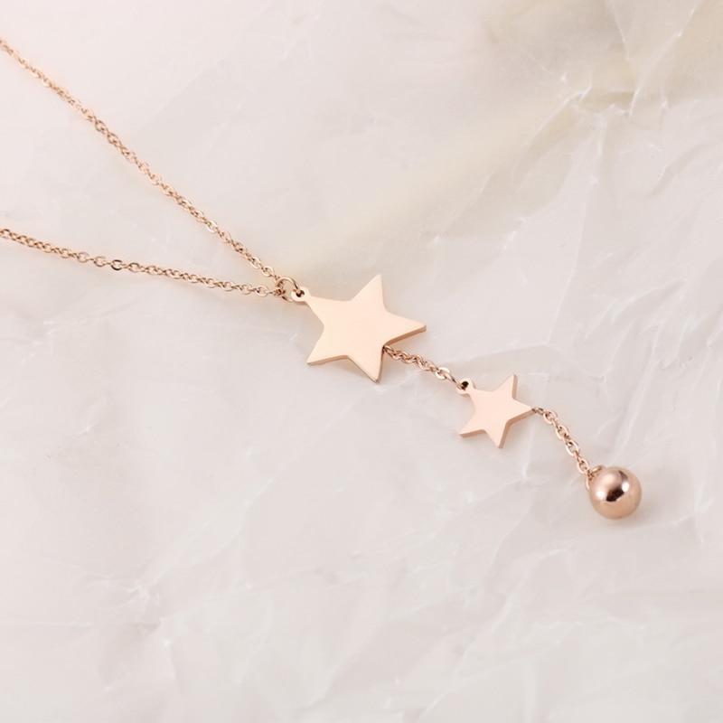 10 PCS/Lot sautoir en acier inoxydable pour femmes étoiles en or Rose collier gland bijoux de mode avec petite boule-in Colliers chaîne from Bijoux et Accessoires    1