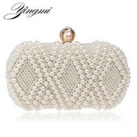 Beading Wedding Lady Day Clutches Rhinestones Luxurious Handmade Style Women Evening Bags Pearl Diamonds Purse Bags