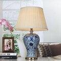Estilo chinês do vintage azul e branco da porcelana cerâmica de mesa candeeiros de mesa de cabeceira