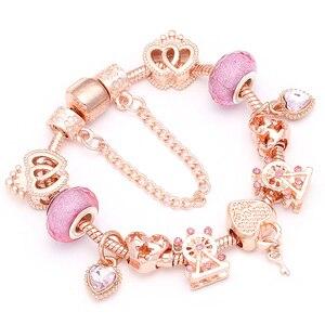 BAOPON New Heart & Key Pendant Rose Gold Color Fine Bracelets & Bangles Ferris Wheel Beads Charm Bracelet For Women Jewelry(China)