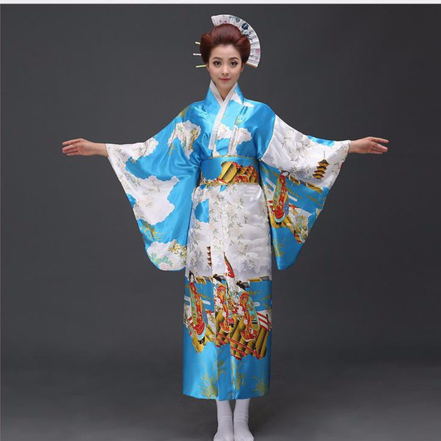 Classic Traditional Floral Kimono Sexy Women Yukata With Obi Vintage Party  Prom Dress Japanese Cosplay Costume One Size 179f2798a831