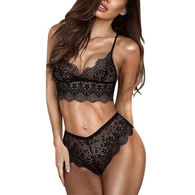 Hot Sexy Ultra Thin Lace Bra Set Women Underwear Set Halter Wireless Bra and Panty Set See Through Transparent Lingerie Set