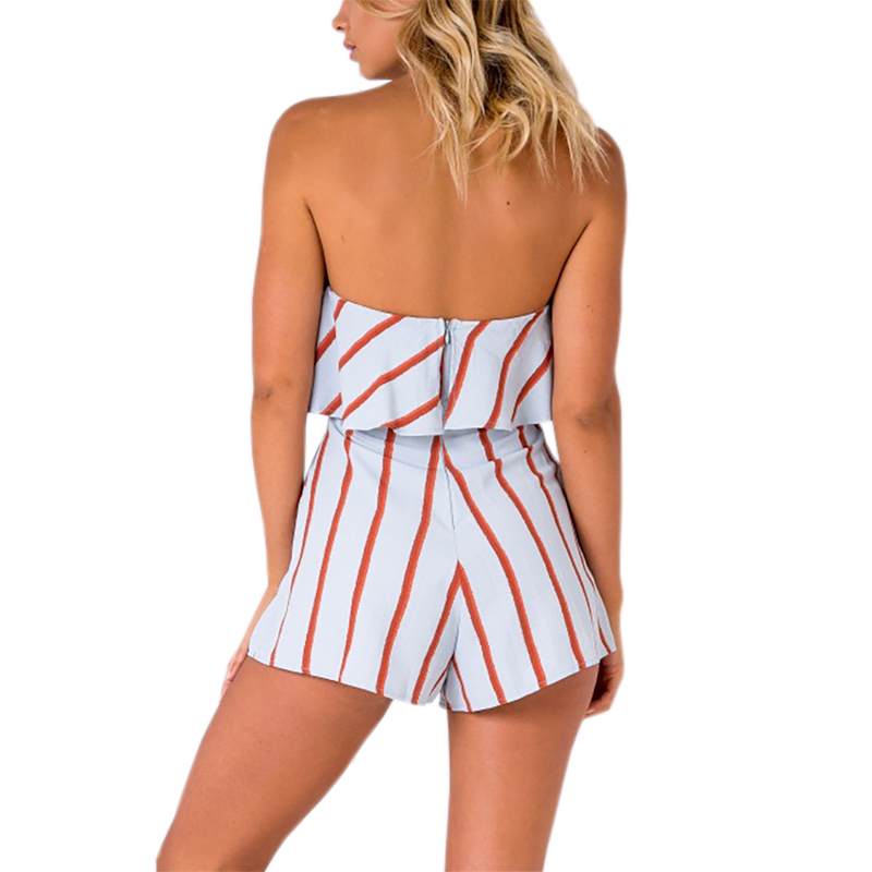 Women Off shoulder Striped Floral Printing Playsuit Sexy Fashion Beachwear Zipper Back Ruffles Short Jumpsuit Overalls GV630