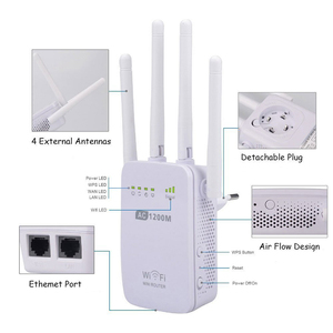 Image 3 - Powerful AC 1200Mbps Wireless 2.4G / 5G WiFi Repeater High Gain Antenna Bridge Signal Amplifier Two Ethernet Port Access Point