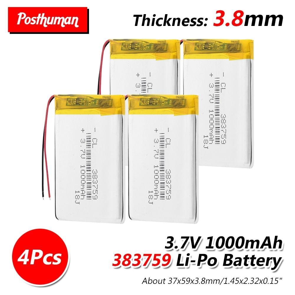 3.7V 1000mAh 383759 Rechargeable Lipo Battery Lithium Polymer Li-Po li ion cells For GPS MP3 MP4 Driving Recorder