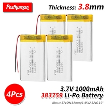 3.7V 1000mAh 383759 Rechargeable Lipo Battery Lithium Polymer Li-Po li ion cells For GPS MP3 MP4 Driving Recorder