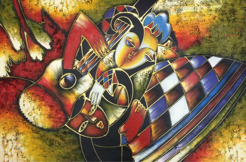 Ručně malované abstraktní olejomalba na plátně Moderní Picasso - Dekorace interiéru