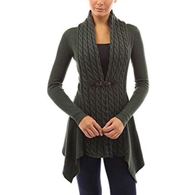 Sweater Women Autumn Winter Front Cardigan Sweater Women Buckle Braid Slim Fit Long Sleeve Coat Sweater LJ5909M