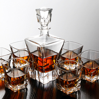 Beautiful Thickening Crystal Whisky Glass 1 Pcs Glass Bottle Decanters 800ml 6 Pcs Glass Cups High
