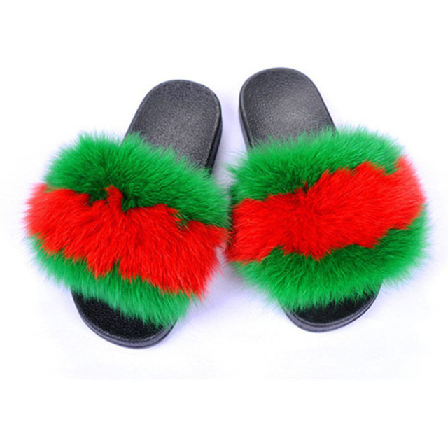 11533a9df9c Women s leather fox fur slippers fashion slide indoor outdoor shoes soft  summer shoes  48