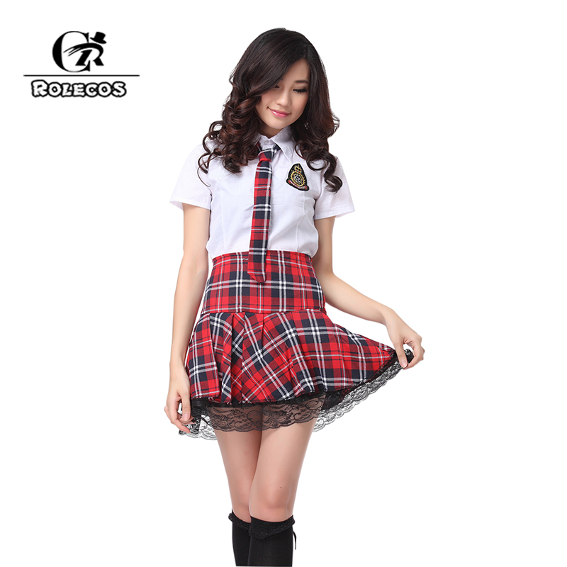 ROLECOS HOT Sale Sweet Temptation Short Sleeves Korean School Uniforms Girl Sailor Red Dark Blue Plaid Skirt Costumes For Women