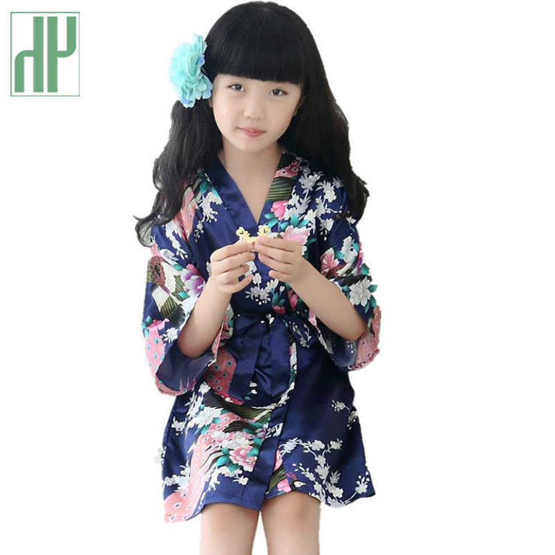 Summer Children Girls Bathrobe Kids Flower Girl Bath Robe For Kids Silk  Satin Kimono Sleepwear Wedding 0e379a2b9