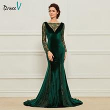 Dressv зеленые длинные платья для матери невесты с зубчатым вырезом в пол с длинными рукавами кружевные вечерние платья для матери невесты