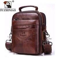 FUZHINIAO 100% Genuine Leather High Quality Messenger Bag Men Shoulder Male Crossbody Bag Tas Sling Tote Travel bag for Small
